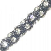 Clear rhinestone gunmetal plated reticulated chain